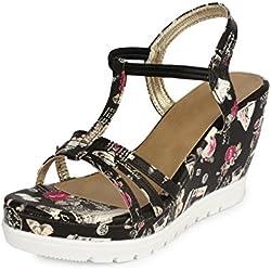 Do Bhai Women's Black Synthetic Fashion Sandal 36