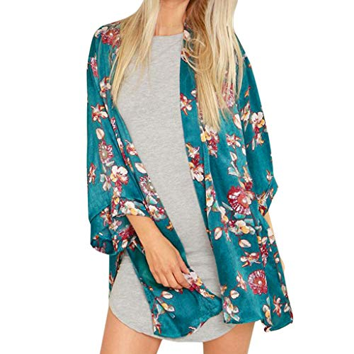 GJKK Damen Strickjacke Strand Tops Blumendruck Bademode Badeanzug Bikini Cover Up Strand Kimono Cardigan Lose Bluse Anti-UV Strickjacke - Zara Bademode