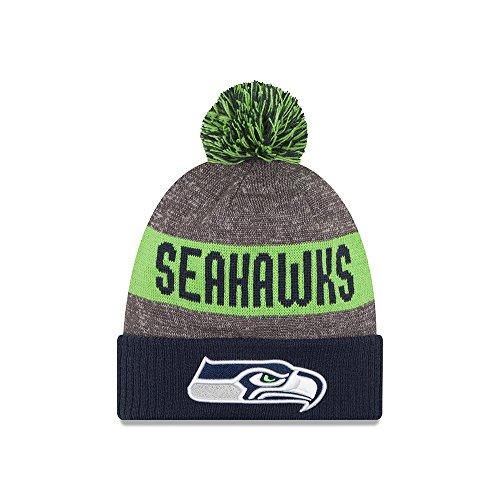 Seattle Seahawks New Era 2016 NFL Sideline On Field Sport Knit Hat Hut - Navy Cuff