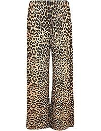 b9a7fd202d2b Crazy Girls Verrückte Mädchen Frauen Plain Palazzo Leopard Print Wide Leg  Flared Hose…