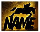 Schlummerlicht24 Rennsport ein Pferd Pferde Lampe mit Name, Geschenke als Namensschild Türschild für Mädchen & Frauen