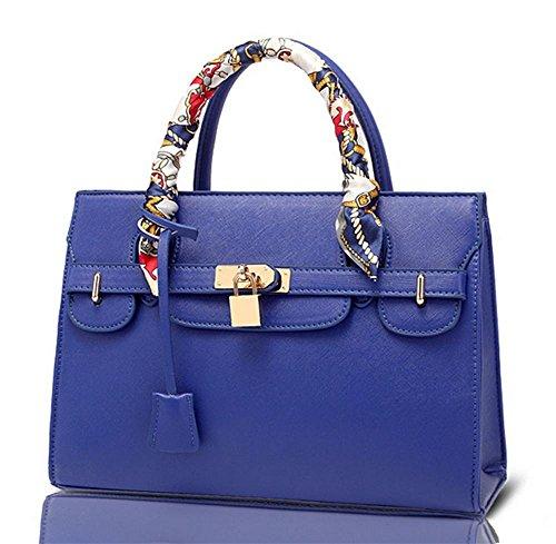 YANX signora Fashion PU Platinum signore pacchetto borsetta tracolla Tote (31 * 22 * ??9,5 centimetri) , red Blue