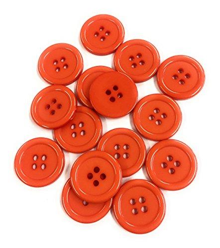 15 Boutons en Plastique 20mm en Acrylique DIY (Orange)