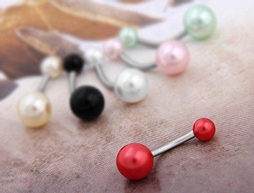 Ecloud Shop 10X Bauchnabelpiercing Bauchpiercing Edelstahl Perle CHARMS