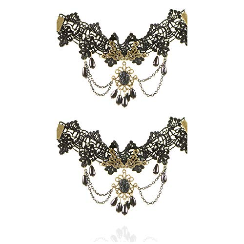 ZQword 2pcs Handmade Vintage Black Lace Fußkettchen für Frauen Zubehör Gothic Lady Party Fußschmuck -