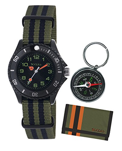 Tikkers Boys Camouflage Nylon Strap Watch, Wallet and Compass Set - ATK1026