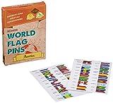 Miss Wood America Banderas del Mundo World Flag Pins, Adhesivo, Rosa, 15.6 x 11 x 2 cm