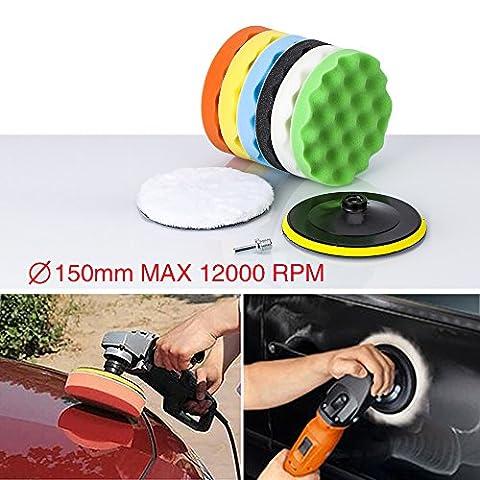 Zipom 6'' Polishing Buffing Pad Auto Car Polishers and Buffers Wax Set Pack Of 8 Pcs +M14 Drill Adapter Kit (6''-8pcs)