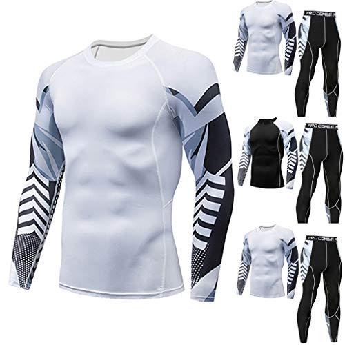Homme Sport Ensemble, Vêtements à Séchage Rapide, T-Shirt de Remise en Forme Décontracté pour Homme, Séchage Rapide, Haut élastique, Pantalon, Fitness Costume Sportif