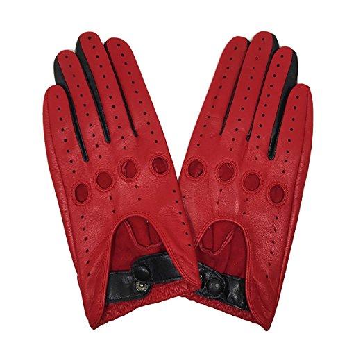 Matsu-Damen Damen Classic full-finger fahren Motorrad Lammfell ungefüttert Leder Handschuhe (schwarz/rot) m9237 Gr. Größe L, rot (Leder Full-motorrad-handschuhe)