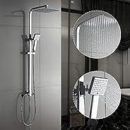 Auralum 2-Funktionen Quadrat Duschesystem mit Handbrause & Edelstahl Top-Spray Duschset kann mit Badewanne