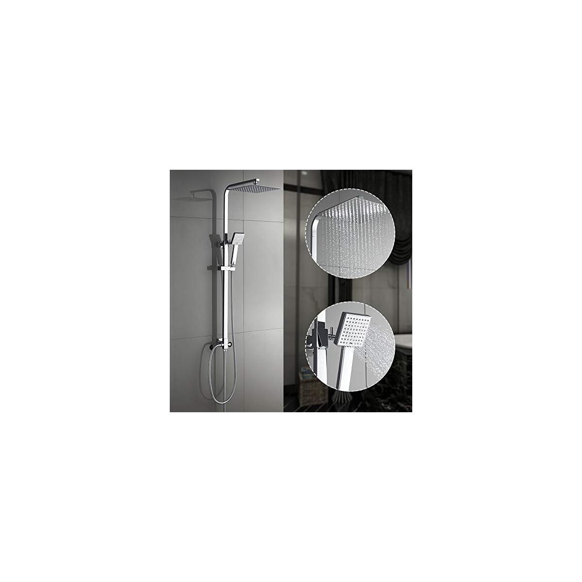 51mW1cw0uRL. SS1200  - AuraLum Conjunto de Ducha Sistema de Ducha Pared Columna sólido douchettes Grifo para Cuarto de baño latón Cromado