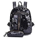 YULAND Handtasche Schultertasche Brusttasche, Mode Mädchen Pailletten Schultasche Rucksack Reise Umhängetasche Clutch Wallet (Schwarz)