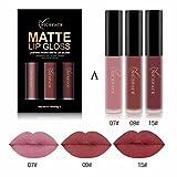 Liquid Lipstick OHQ 3 stücke Mode Wasserdicht Matte Flüssigen Lippenstift Kosmetische Sexy Lip drucken Lipgloss Kit Lip line Lipgloss Lip glasur (A)
