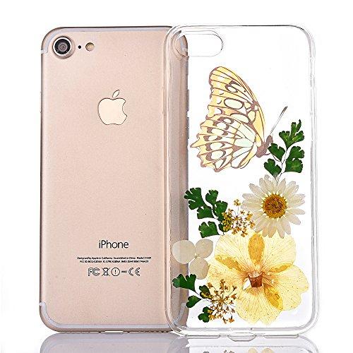 "iPhone 6sPlus Handyhülle, CLTPY iPhone 6Plus Transparent Klare 3D Motiv Fall, [Ultra Hybrid] Echte Getrocknete Blumen Series Etui, Dünne Stoßfest Gummi Case für 5.5"" Apple iPhone 6Plus/6sPlus (Nicht i Floral 20"