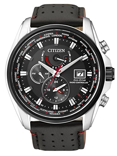 Citizen Men's Quartz Watch with Black Dial Analogue Display Quartz Leather AT9036 08E