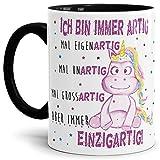 Tassendruck Einhorn-Tasse mit Spruch Immer Einzigartig - Unicorn/Geschenk-Idee/Freunde / Sterne/Innen & Henkel Schwarz
