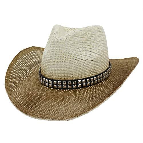 Männer Frauen Sprühfarbe Stroh Western Cowboyhut Outdoor Strand Sonnenhut Zweireihig Quadrat Niet Visier Cowboy Hut (Farbe : 3, Größe : 56-58CM)