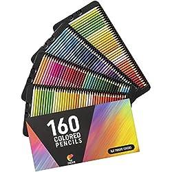 ⭐160 Lápices de Colores (Numerados) - Almacenamiento Fácil - Estuche de Lapices de Colores Profesional Adultos Niños - Ideales para Colorear Adulto, Mandala, Material Escolar Vuelta al Cole