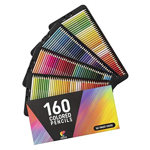 ⭐160 Buntstifte (Nummeriert) Zenacolor - Einfache Aufbewahrung - Professionelles Stifte-Set für Erwachsene und Kinder - Ideal für Ausmalbilder Erwachsene, Mandala, Malbuch, Schreibgeräte und Schule