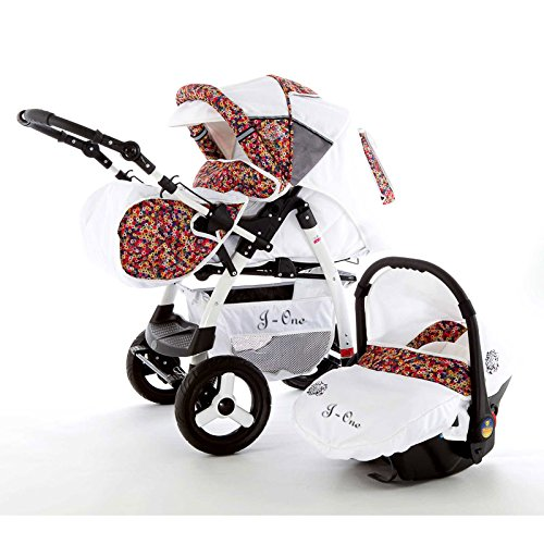 Chilly Kids J1 Kombikinderwagen Safety-Set (Autositz & ISOFIX Basis, Regenschutz, Moskitonetz) 57 White & Millefleurs