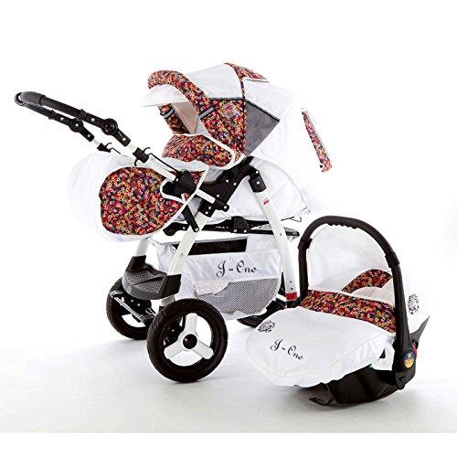 Chilly Kids J1 Kombikinderwagen Safety-Mega-Set (Winterfußsack, Sonnenschirm, Autositz & ISOFIX Basis, Regenschutz, Moskitonetz) 57 White & Millefleurs