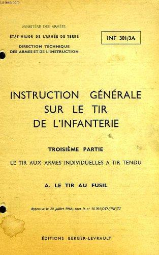 INSTRUCTION GENERALE SUR LE TIR DE L'INFANTERIE, 3e PARTIE, LE TIR AUX ARMES INDIVIDUELLES A TIR TENDU, A. LE TIR AU FUSIL par COLLECTIF