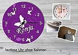 Kinder Wanduhr Kinderuhr Kinderzimmer Uhr mit Namen personalisiert laufruhig leise Schmetterling lila (20.6 cm)