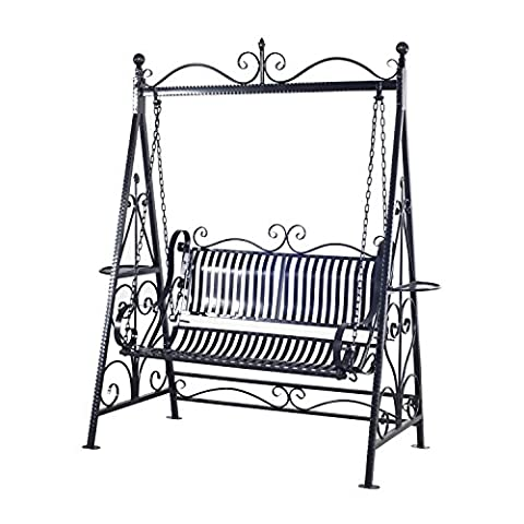 Outsunny Outdoor Garden Patio Cast Iron Metal Vintage Style Swing Chair Hammock Bench - Black