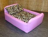 Zippy Pet Dog Bed - Faux Leather Divan - Medium - Colour Pink/Leopard