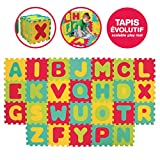 LUDI - Tapis de sol épais et jouet Éducatif - 1054 - puzzle géant aux motifs Lettres - dès 10 mois - lot de 26 dalles en mousse multicolores et 26 éléments pour apprendre à lire.