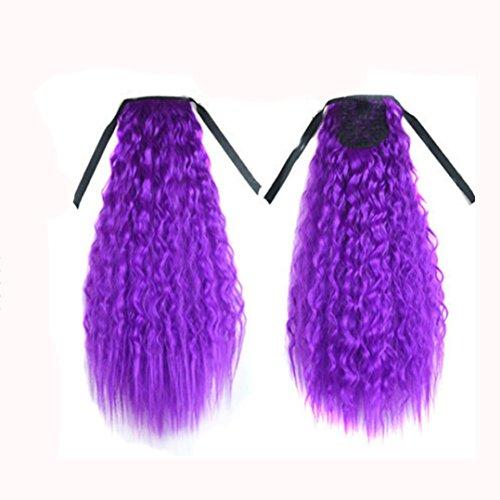 DRESS_start Gradient Farbband Dickes welliges Curly Long Pferdeschwanz Schachtelhalm Clip Haare Erweiterungen Perücken 60cm (F)
