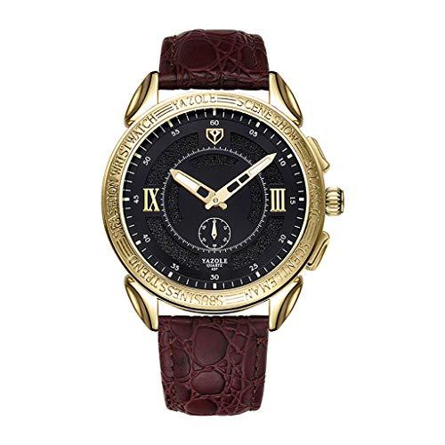 iness Quarzuhr für Herren mit Zwei Nadeln und Einem Halben Ledergürtel Fashion Business Herren Quarzuhr Einzigartige Lesezeit Leder Watch Unisex Armbanduhr ()