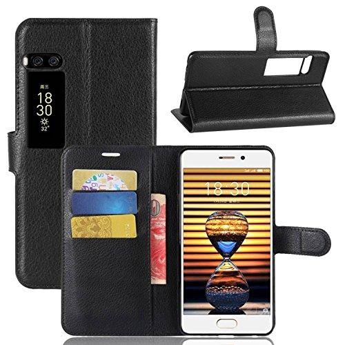 Tasche für MeiZu Pro 7 Lite Hülle, Ycloud PU Kunstleder Ledertasche Flip Cover Wallet Case Handyhülle mit Stand Function Credit Card Slots Bookstyle Purse Design schwarz