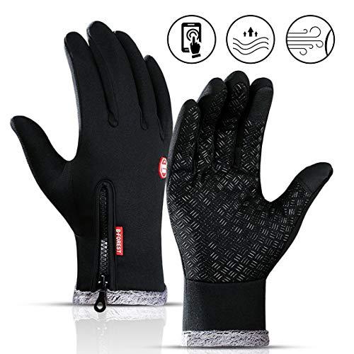 Zaloife Touchscreen Handschuhe Warme, Fahrradhandschuhe Laufhandschuhe, Winddichte Handschuhe Herren, Radhandschuhe Winter Gloves, Sporthandschuhe für Männer Frauen (Schwarz, XL)