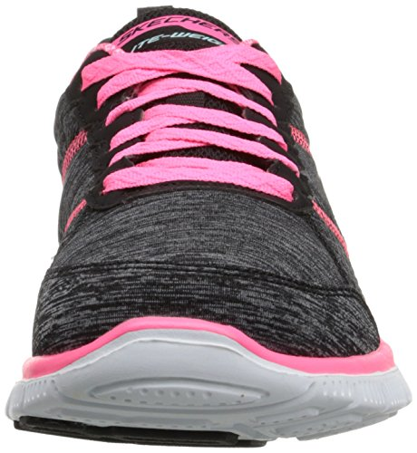 Skechers Flex Appeal Pretty City, Chaussures de Fitness femme Noir (Noir/Rose)