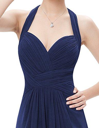 Ever Pretty Robe de soir¨¦e longue Halter en ruche 08487 Bleu Marine