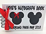 Any occasion PERSONALISED DISNEY MICKEY & MINNIE MOUSE AUTOGRAPH BOOK in the UK professional laminate gloss film covering front and back outer covers to protect from sticky fingers