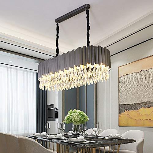 Grau Luxus Kristall Kronleuchter Europäischen Moderne Villa Hotel Restaurant Wohnzimmer Esszimmer LED Lampe Oval 3 Farbe Dimmen Licht Hängende Beleuchtung -