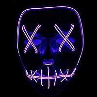 Xdffy Halloween Máscara LED Ligero Gracioso Máscaras Estupendo Festival Cosplay Disfraz Suministros Fiesta Máscaras Brillan en la Oscuridad (Púrpura)