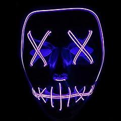Idea Regalo - Xdffy Halloween Maschera LED Leggero Divertente Maschere Grande Festival Cosplay Costume Supplies Festa Maschere Si illuminano al buio (Viola)