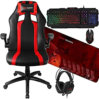 Mars Gaming – Pack Silla Gaming y Combo RGB (inclinación y Altura Regulables, reposacabezas Acolchado, Teclado RGB Rainbow, Sensor óptico 4000 dpi, micrófono Integrado, Alfombrilla XXL)