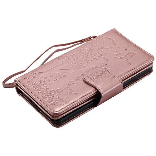 Galaxy Note 8 Hülle , Camiter Rosa Schönheit Mädchen Design Leder pu Magnetverschluss Wallet Case Schutzhülle Standfunktion Handytasche Hülle mit 9 Karteneinschub /Trageschlaufe und Spiegel für Samsun 9card Roségold