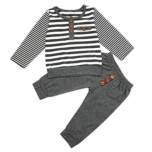 Baby Bekleidungsset Winter Yanhoo Baby Langärmel Stripe Rundkragen Pullover Langarmshirt Top + Hosen-Set (6M-24M)