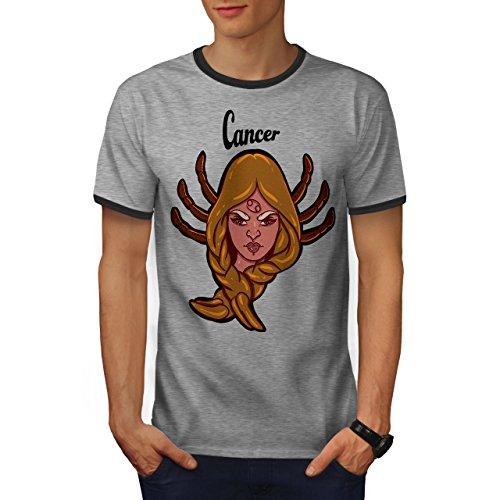 Krebs Tierkreis Mode Herren S Ringer T-shirt | Wellcoda (Krebs-ringer)
