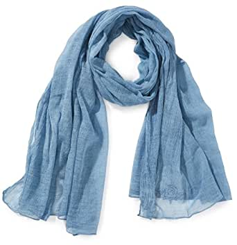 Cream Damen Schal Monita Scarf, Einfarbig, Gr. One size, Blau (Faded denim)