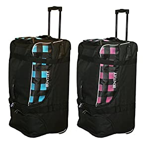 Charles Bentley Wheeled Holdall Padded Travel Carry Bag 123L Capacity/32 Inch - Blue/Pink with Black Check