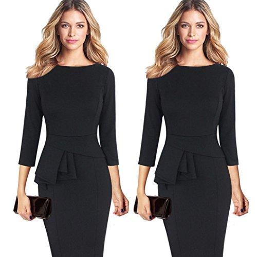 feiXIANG frauen elegante kleider halskrause3 / 4 - kleid Rundhals Rock arbeiten partei kleid Frau Falten Retro Business Kleid Damen Skaterkleid (S, Schwarz) Frauen Business-kleidung