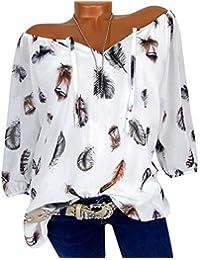Wenyujh  Damen Bluse Tunika Langarm Schulterfrei Feder Shirt Langsrmshirt  Sexy Modern Locker Oversize Sommer Herbst bee9f8e411