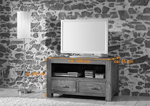 SAM® Longboard Saber 6646 aus Akazienholz, Sideboard stonefarben, massiv, 2 Schubladen, 2 große Ablageflächen, viel Stauraum - 2